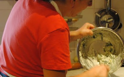 the filling for the ricotta and spinach pie